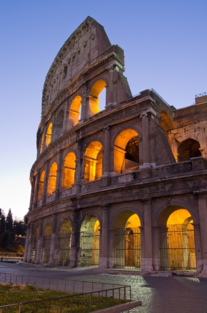 Colosseum at Rome at nighttime photo