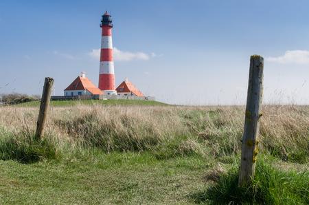 westerhever: Lighthouse Westerhever at the German northfrisian coast