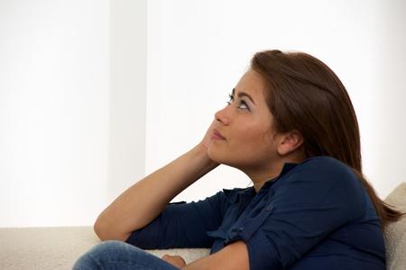 lovelorn: Portrait of a thinking women Stock Photo