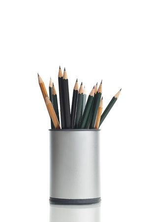 Box with pencils, isolated on white