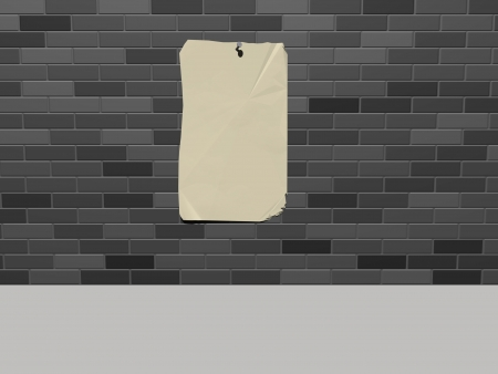 Wall with an empty paper Stock Photo - 17695888