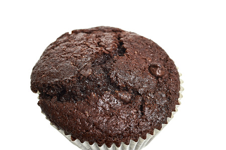 Chocolate Muffin Over White Background