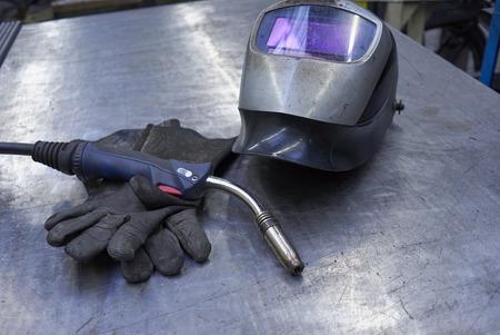 Welders Equipment, Shield, Gloves And Welder Torch