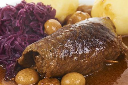Traditional German Food Beef Roll With Potato Dumpling And Mushrooms Standard-Bild