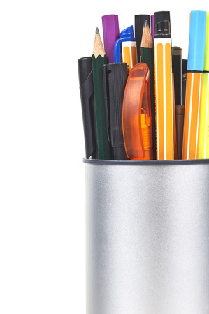 Holder With Colored Pens, Markers And Pencils