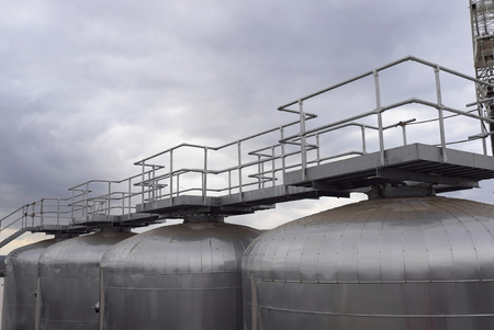 Fermentation Tanks With Platform And Walkway