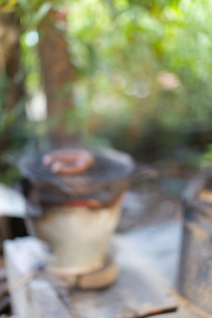 chitterlings: Blur image of sai oua north thailand sausage on the cement grill with blur bokeh background