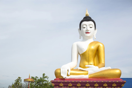 chiangmai: White body and golden buddha statue in san khampaeng chiangmai temple public location of thailand