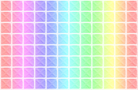 arhitecture: Beautiful rainbow colorful tile floor texture background with white cross pattern