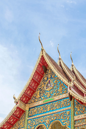 sunligh: Buddhist church top of roof public location in Doi Saket, Chiang Mai northern thailand