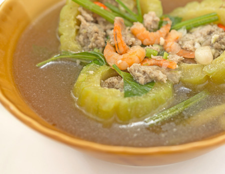 dried gourd: Gourd soup with meat and dried shrimp in bowl macro shot Stock Photo