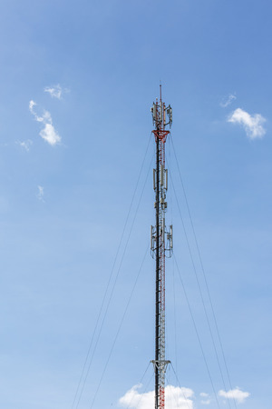 High mobile communication tower and sunny day in sunny day from thailand Stock Photo