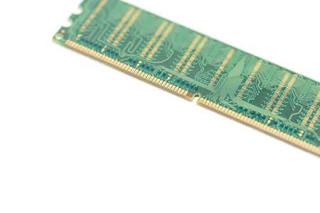the outmoded: Close up computer ddr one memory ram on white background with space for text Stock Photo