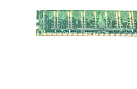 dimm: Close up computer ddr one memory ram on white background with space for your text