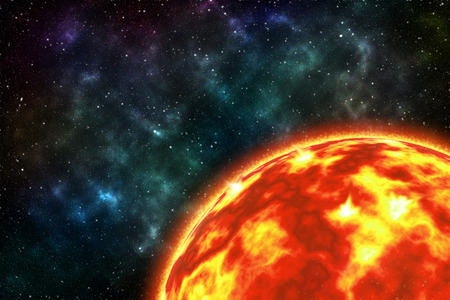 sun screen: The sun on the right screen with star galaxy Elements of this image furnished by NASA