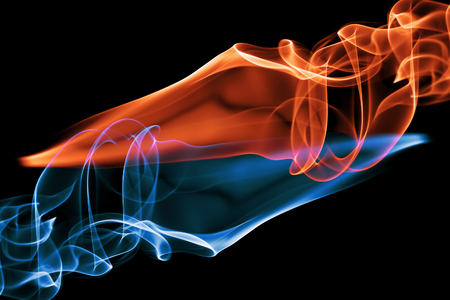 Abstract fire red and blue smoke background