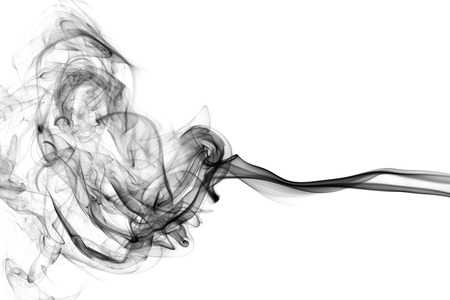 Black smoke on white abstract background