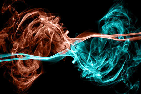 Hot and cool brigh color smoke abstract background Banco de Imagens