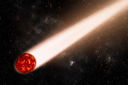 Red comet with galaxy and star background Elements of this image furnished by NASA