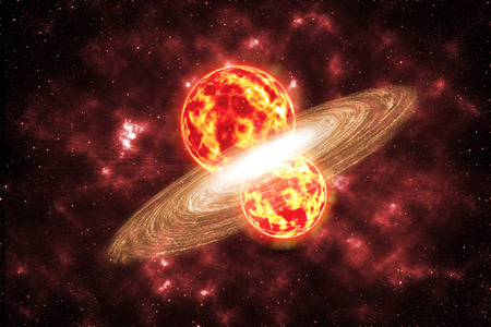 nebulosity: Two sun collide in star universe background Elements of this image furnished by NASA Stock Photo