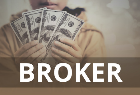 orchestrate: Broker word over young girl holding dollar bills.