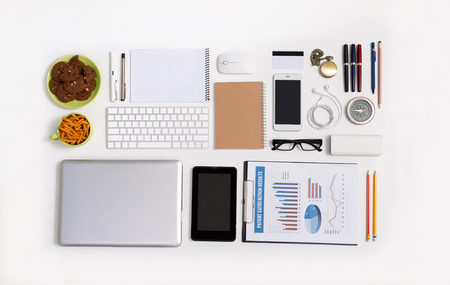Top view of many business gadgets and IT technology object mock up display flat lay on white background 版權商用圖片