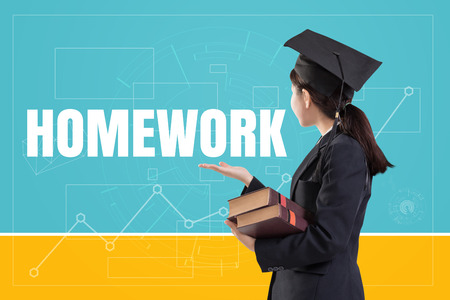 Graduated female girl holding the books with text: Homework