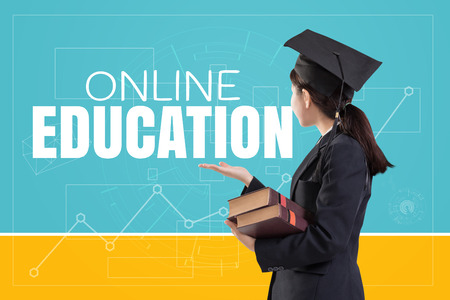 Graduated female girl holding the books with text: Online Education