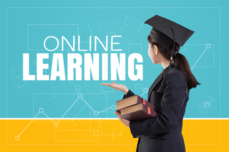 Graduated female girl holding the books with text: Online Learning