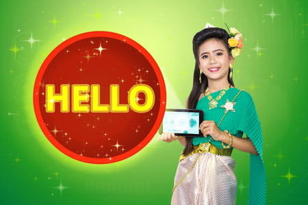 greet card: Traditional thai girl child with Hello text.