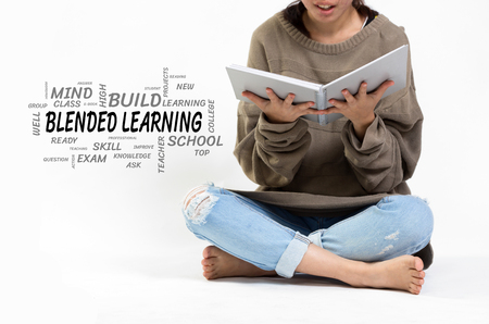 Blended Learning word cloud with girl holding a notebook.