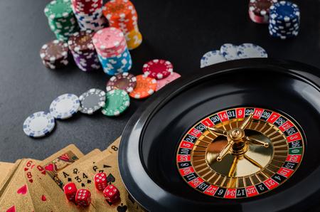 Roulette wheel gambling in a casino table.