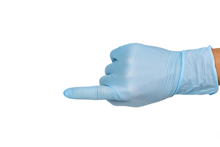 Doctor hand glove shows point top view on white background. Standard-Bild