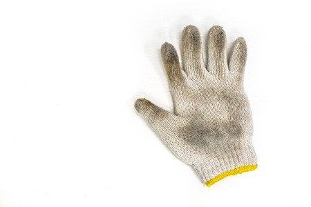 Top view dirty hand glove, industry leather.
