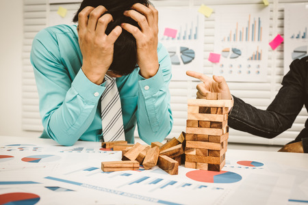Business man headache and stress, unemployed concept. Stock Photo