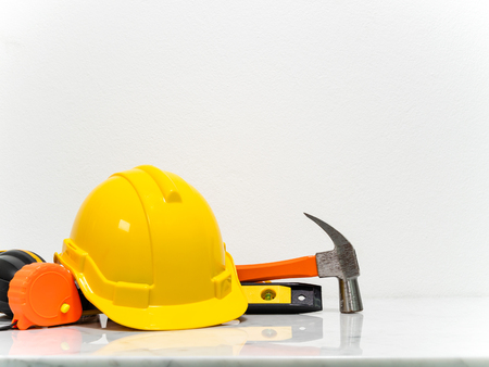 Engineer equipment tools put on white marble counter. Stock Photo