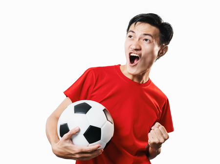 Asian Thai people soccer fan football in red sleeve shirt isolated on white background high contrast.