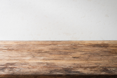 Blank wood table desk old vintage grunge design shelf perspective with blurry background normal. Zdjęcie Seryjne