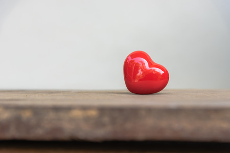 Red heart shaped ceramic for love concept.