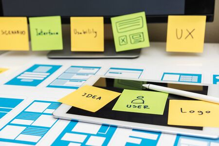 Developing wireframe UX/UI mobile application design for mobile user experience.