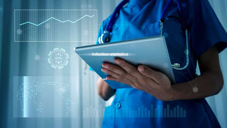 Woman doctor holding a tablet and four graphic shows statistics infection.