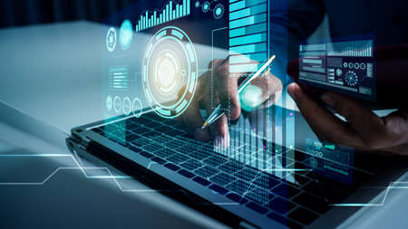 Business man works with vr financial artificial intelligence AI cloud computing and big data futuristic robot assistant and digital data visualization. Фото со стока
