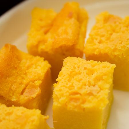 Malaysia's local food , kuih bingka  manis shoots indoors with flash