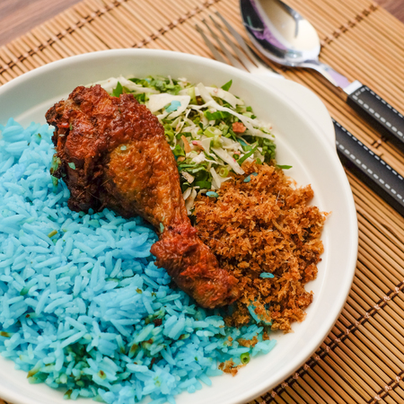 Malaysia's local food , Nasi Kerabu shoots indoors with available light Banco de Imagens
