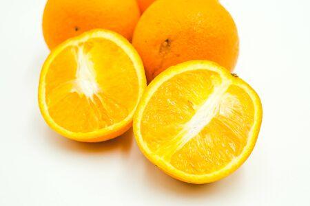 Oranges shot on a white isolated background.