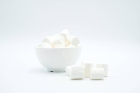 Marshmellow shot on a white isolated background. Stok Fotoğraf