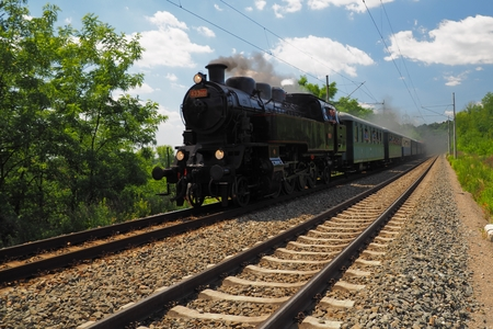 Steam locomotive, Brno, South Moravia, Czech republic Stock Photo