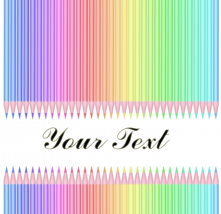 Colour pencils isolated on white background with text Stock Photo - 20626488