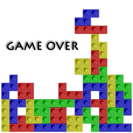 Colored blocks in game and text on white background photo