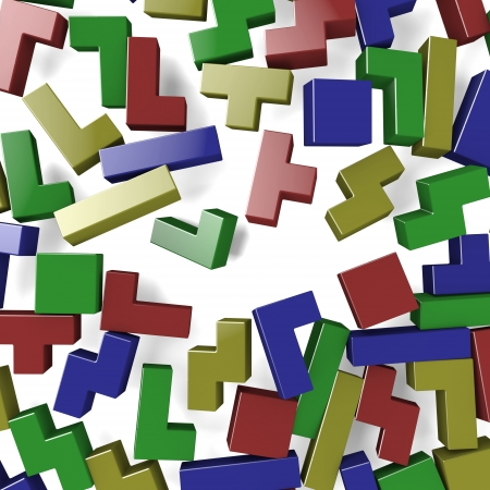 inaccurate: Blocks of Tetris game scattered by explosion